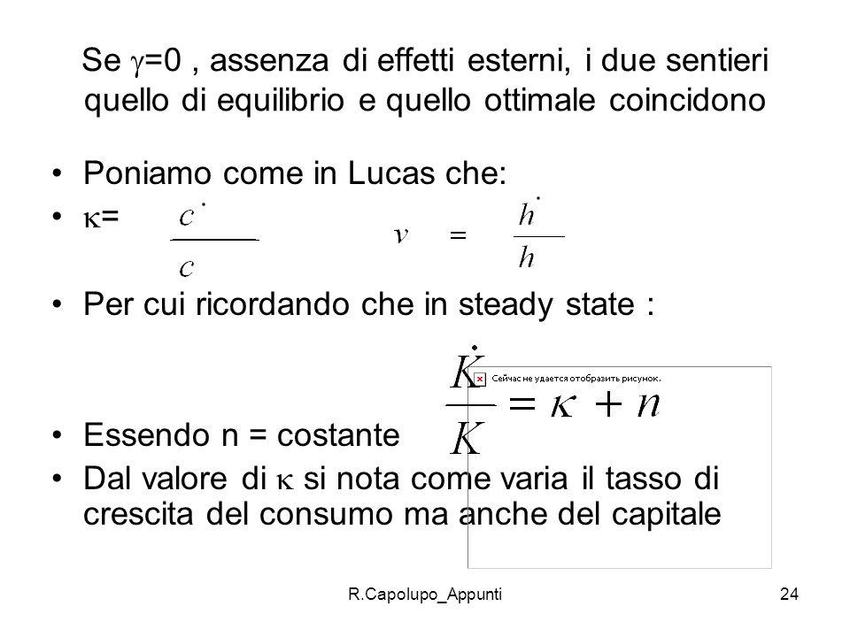 R.Capolupo_Appunti24 Se =0, assenza di effetti esterni, i due sentieri quello di equilibrio e quello ottimale coincidono Poniamo come in Lucas che: =