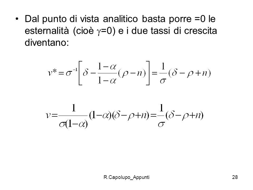 R.Capolupo_Appunti28 Dal punto di vista analitico basta porre =0 le esternalità (cioè =0) e i due tassi di crescita diventano: