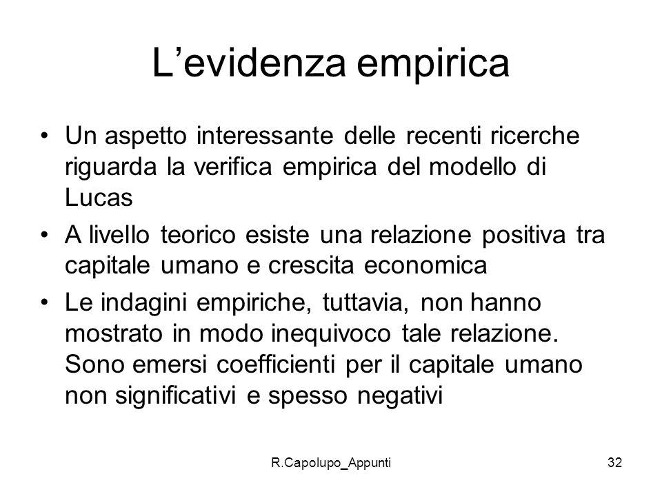 R.Capolupo_Appunti32 Levidenza empirica Un aspetto interessante delle recenti ricerche riguarda la verifica empirica del modello di Lucas A livello te