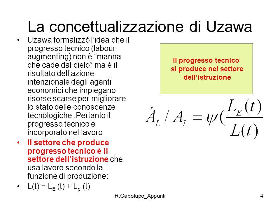 R.Capolupo_Appunti4 La concettualizzazione di Uzawa Uzawa formalizzò lidea che il progresso tecnico (labour augmenting) non è manna che cade dal cielo