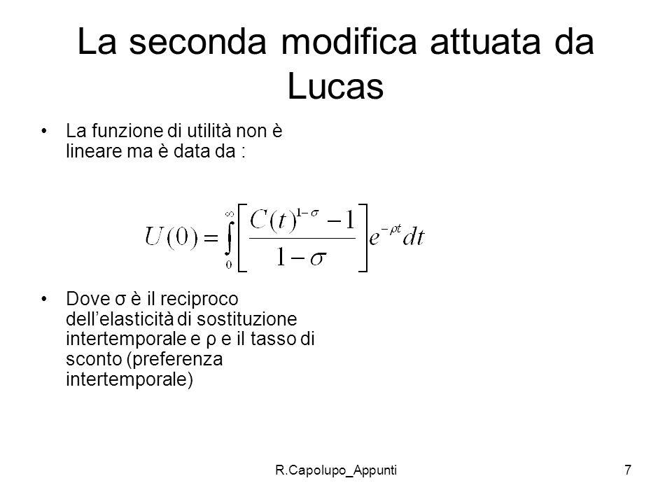 R.Capolupo_Appunti7 La seconda modifica attuata da Lucas La funzione di utilità non è lineare ma è data da : Dove σ è il reciproco dellelasticità di s