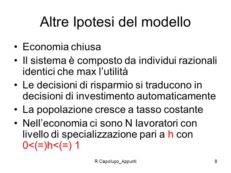 R.Capolupo_Appunti8 Altre Ipotesi del modello Economia chiusa Il sistema è composto da individui razionali identici che max lutilità Le decisioni di r