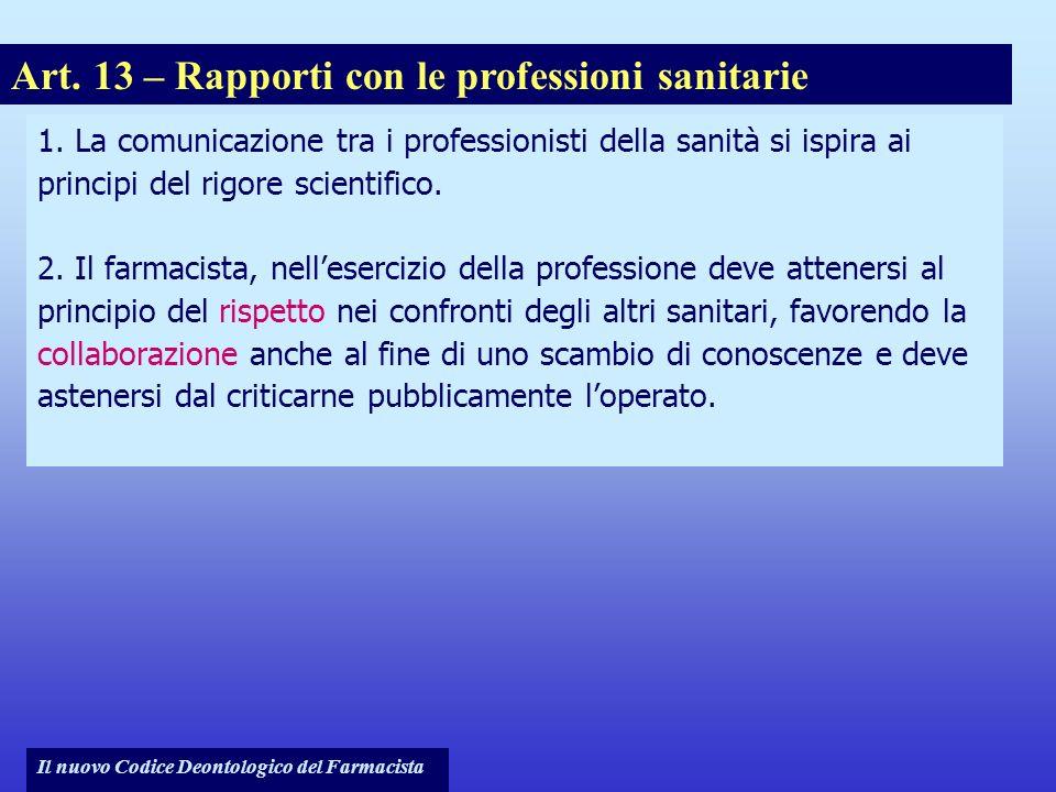 Il nuovo Codice Deontologico del Farmacista 1. La comunicazione tra i professionisti della sanità si ispira ai principi del rigore scientifico. 2. Il