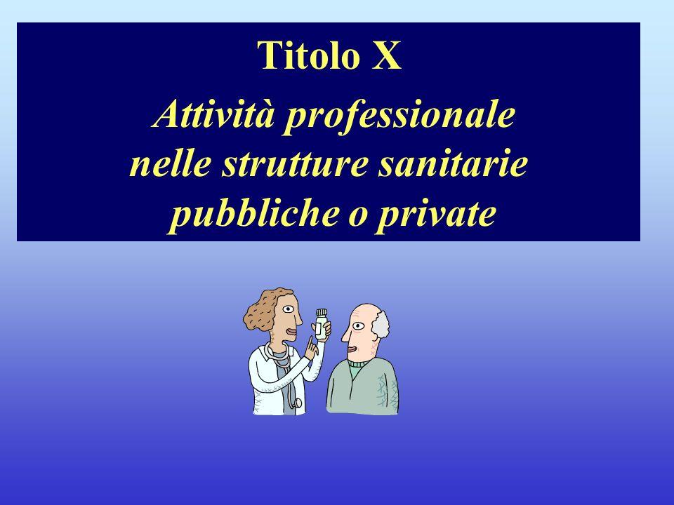 Titolo X Attività professionale nelle strutture sanitarie pubbliche o private