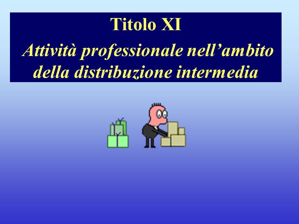Titolo XI Attività professionale nellambito della distribuzione intermedia