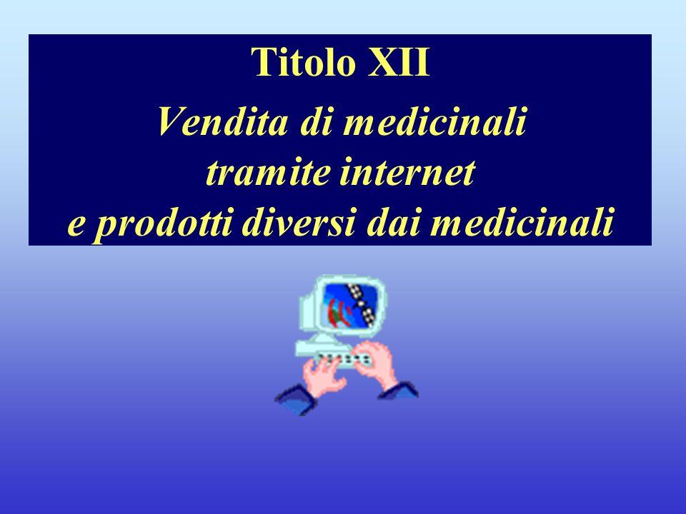 Titolo XII Vendita di medicinali tramite internet e prodotti diversi dai medicinali