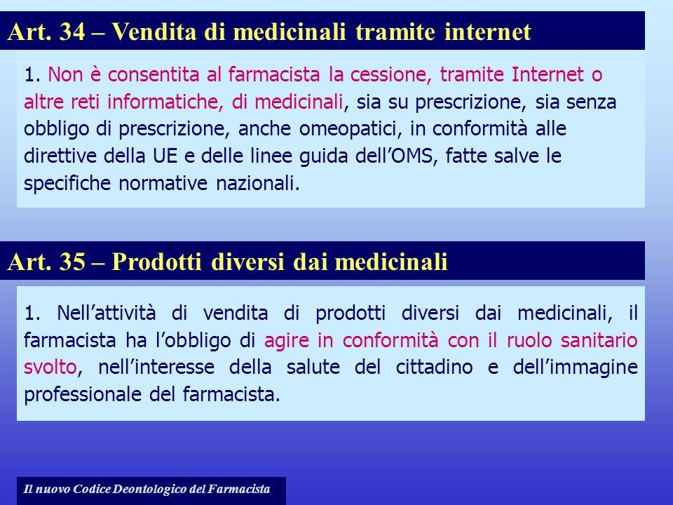 Il nuovo Codice Deontologico del Farmacista 1. Non è consentita al farmacista la cessione, tramite Internet o altre reti informatiche, di medicinali,