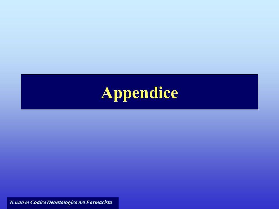 Il nuovo Codice Deontologico del Farmacista Appendice