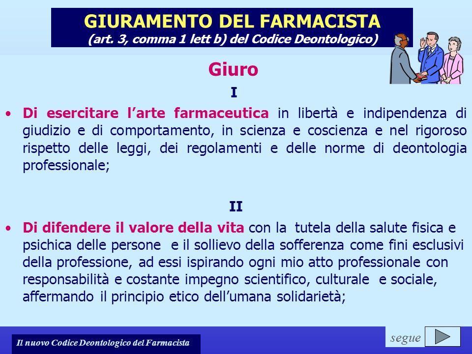 Il nuovo Codice Deontologico del Farmacista GIURAMENTO DEL FARMACISTA (art. 3, comma 1 lett b) del Codice Deontologico) Giuro I Di esercitare larte fa