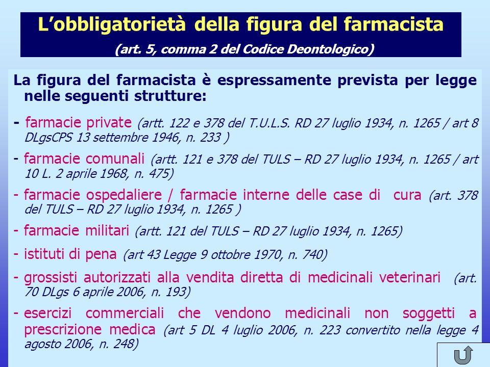 Il nuovo Codice Deontologico del Farmacista Lobbligatorietà della figura del farmacista (art. 5, comma 2 del Codice Deontologico) La figura del farmac