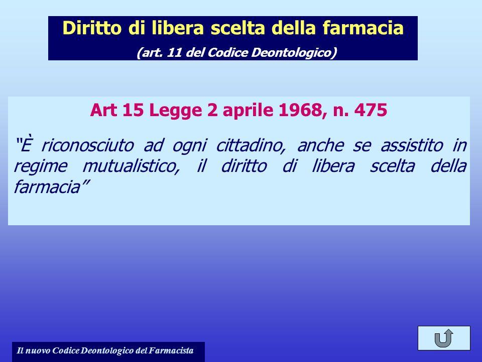 Il nuovo Codice Deontologico del Farmacista Diritto di libera scelta della farmacia (art. 11 del Codice Deontologico) Art 15 Legge 2 aprile 1968, n. 4