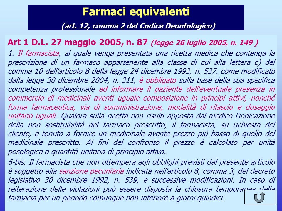 Il nuovo Codice Deontologico del Farmacista Farmaci equivalenti (art. 12, comma 2 del Codice Deontologico) Art 1 D.L. 27 maggio 2005, n. 87 (legge 26