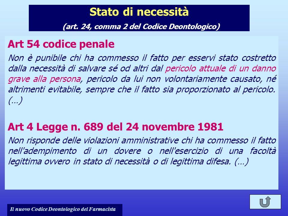 Il nuovo Codice Deontologico del Farmacista Stato di necessità (art. 24, comma 2 del Codice Deontologico) Art 54 codice penale Non è punibile chi ha c