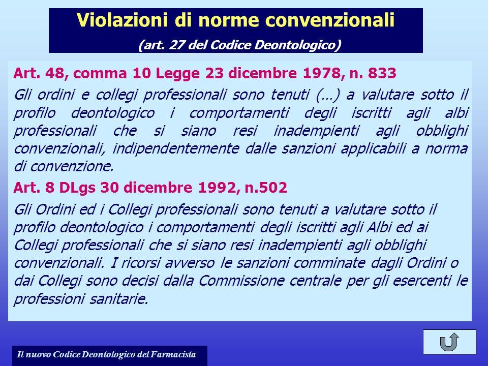 Il nuovo Codice Deontologico del Farmacista Violazioni di norme convenzionali (art. 27 del Codice Deontologico) Art. 48, comma 10 Legge 23 dicembre 19