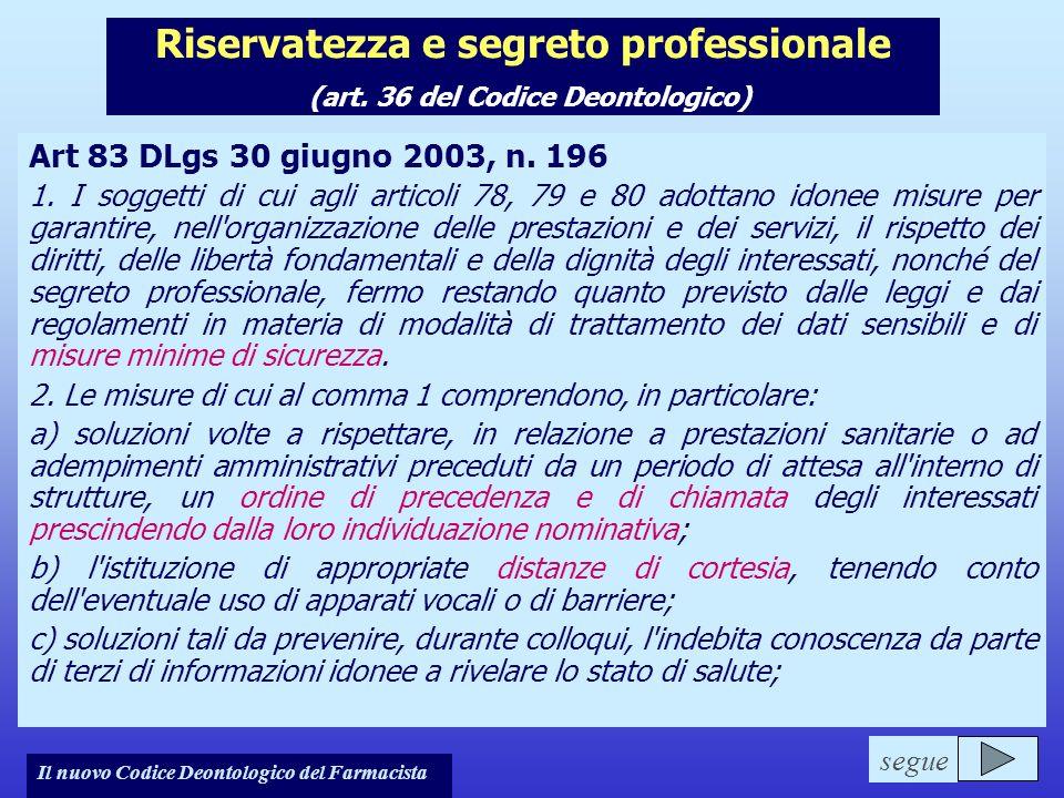 Il nuovo Codice Deontologico del Farmacista Riservatezza e segreto professionale (art. 36 del Codice Deontologico) Art 83 DLgs 30 giugno 2003, n. 196