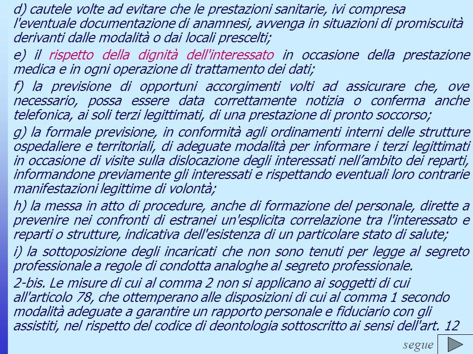 Il nuovo Codice Deontologico del Farmacista d) cautele volte ad evitare che le prestazioni sanitarie, ivi compresa l'eventuale documentazione di anamn
