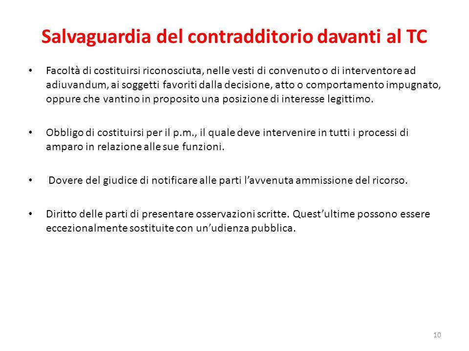 Salvaguardia del contradditorio davanti al TC Facoltà di costituirsi riconosciuta, nelle vesti di convenuto o di interventore ad adiuvandum, ai sogget