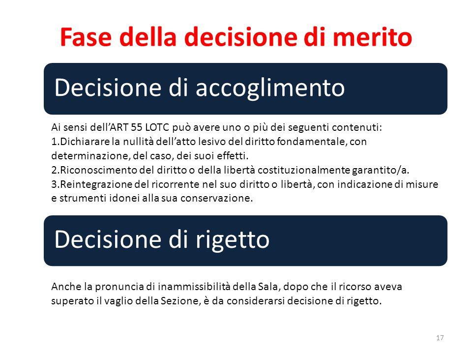 Fase della decisione di merito 17 Decisione di accoglimento Decisione di rigetto Ai sensi dellART 55 LOTC può avere uno o più dei seguenti contenuti:
