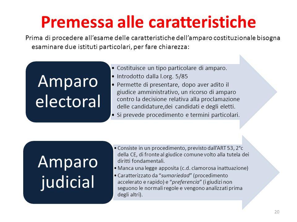 Premessa alle caratteristiche Prima di procedere allesame delle caratteristiche dellamparo costituzionale bisogna esaminare due istituti particolari,