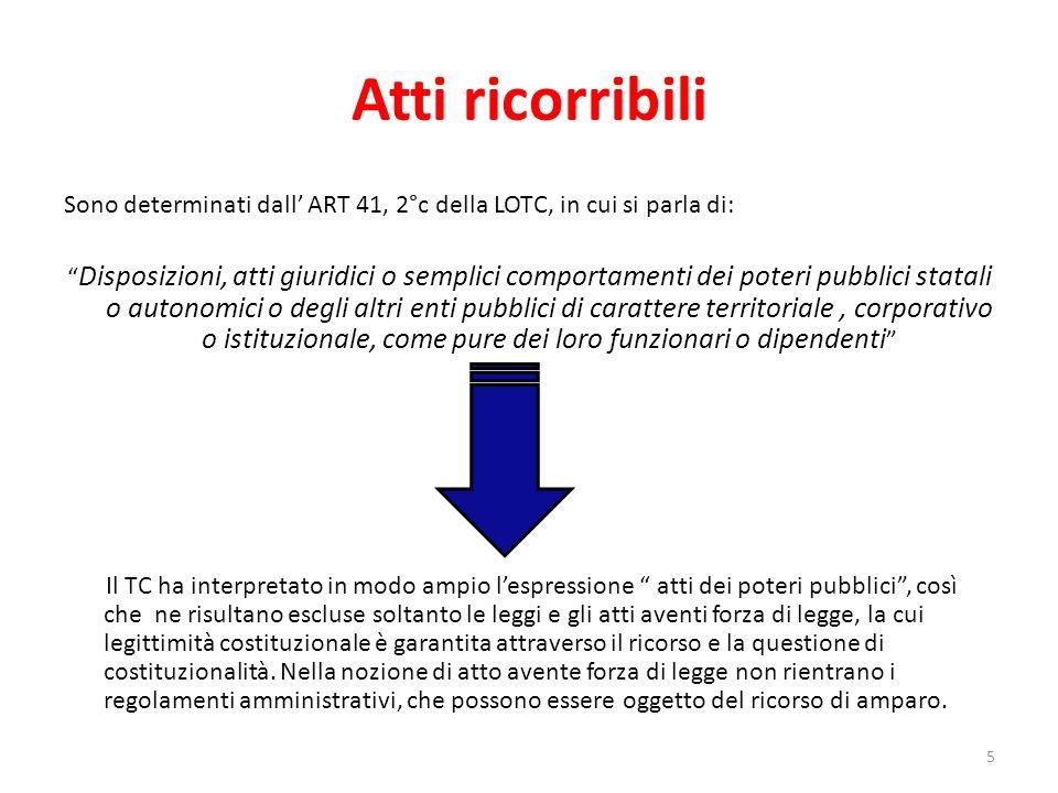 Atti ricorribili Sono determinati dall ART 41, 2°c della LOTC, in cui si parla di: Disposizioni, atti giuridici o semplici comportamenti dei poteri pu