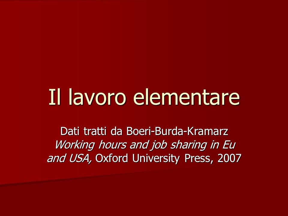 Il lavoro elementare Dati tratti da Boeri-Burda-Kramarz Working hours and job sharing in Eu and USA, Oxford University Press, 2007