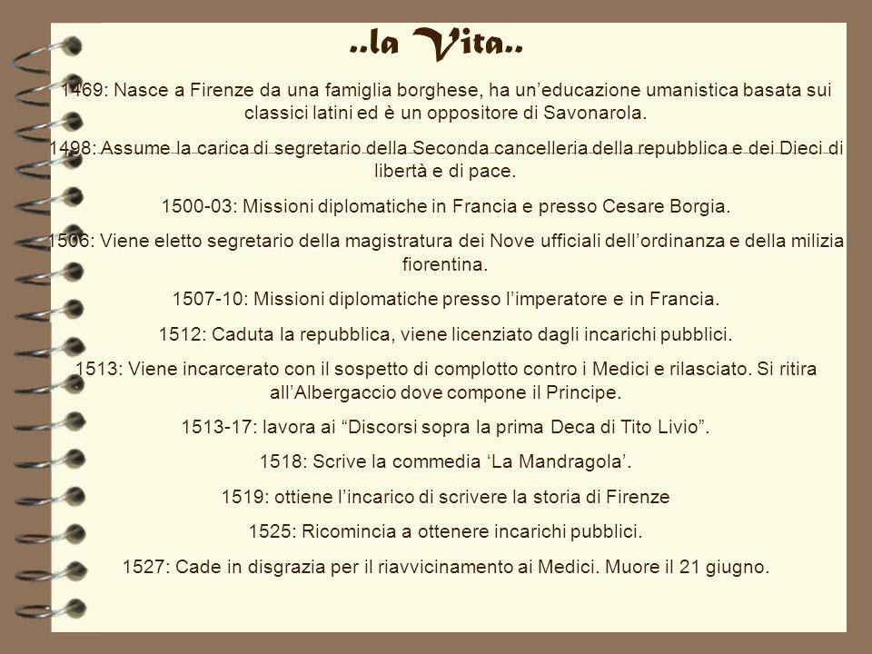 ..la Vita.. 1469: Nasce a Firenze da una famiglia borghese, ha uneducazione umanistica basata sui classici latini ed è un oppositore di Savonarola. 14