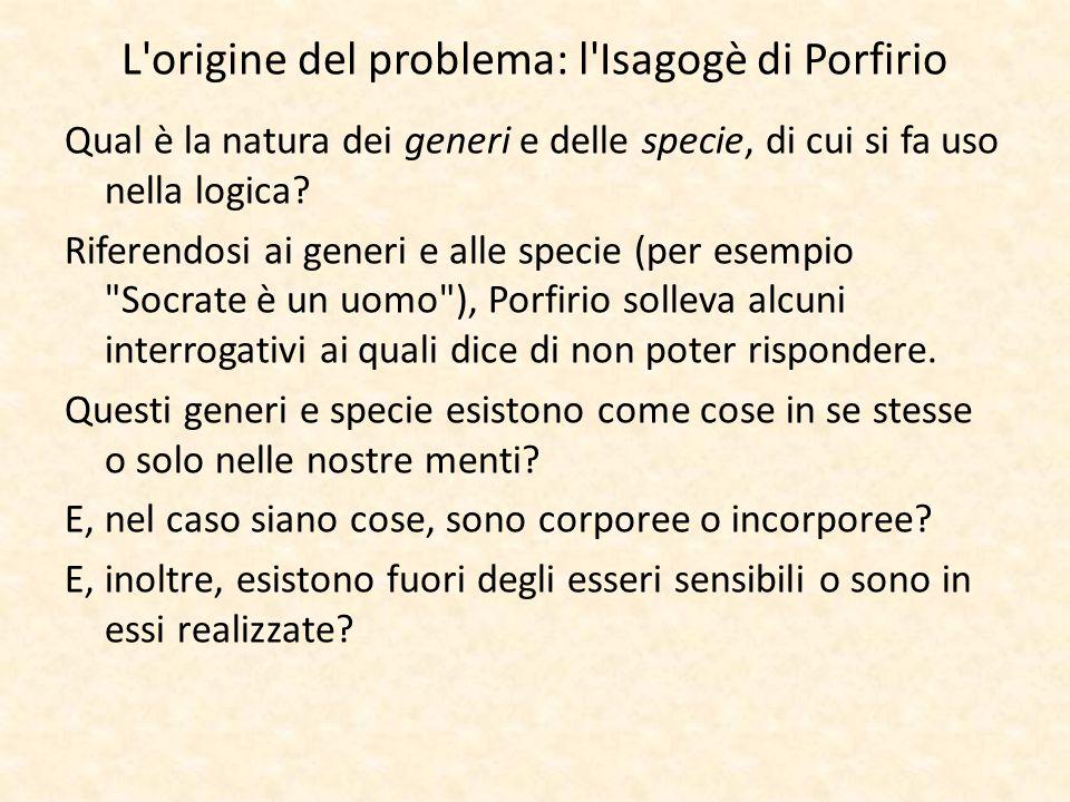 L'origine del problema: l'Isagogè di Porfirio Qual è la natura dei generi e delle specie, di cui si fa uso nella logica? Riferendosi ai generi e alle