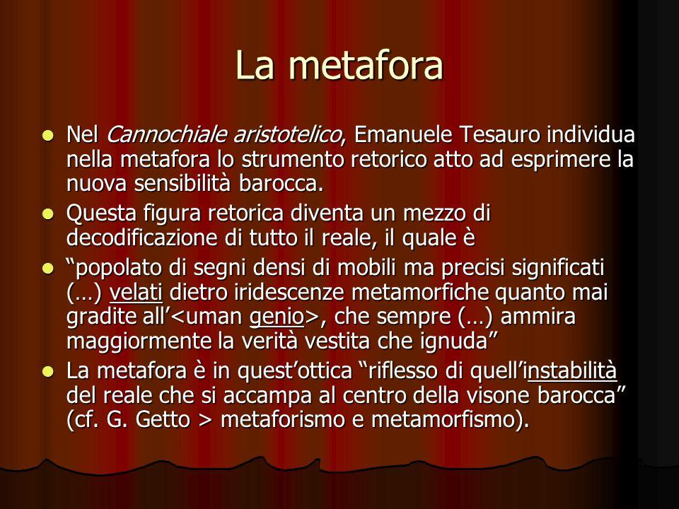 La metafora Nel Cannochiale aristotelico, Emanuele Tesauro individua nella metafora lo strumento retorico atto ad esprimere la nuova sensibilità baroc