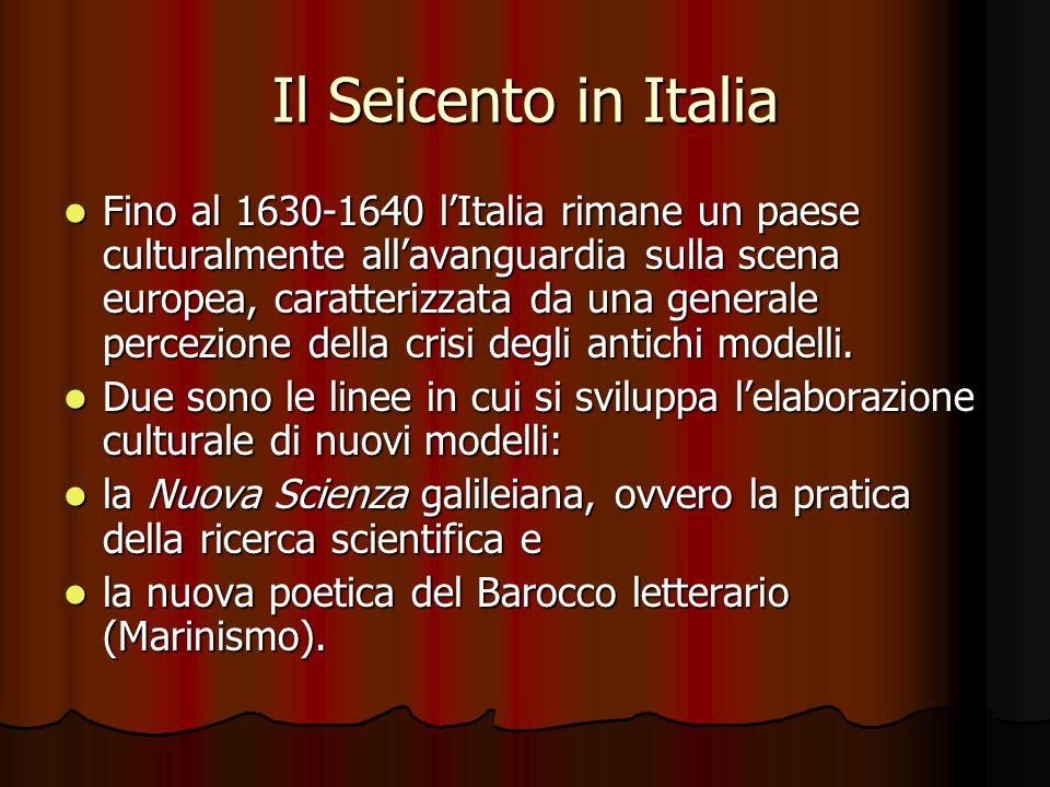 Il Seicento in Italia Fino al 1630-1640 lItalia rimane un paese culturalmente allavanguardia sulla scena europea, caratterizzata da una generale perce