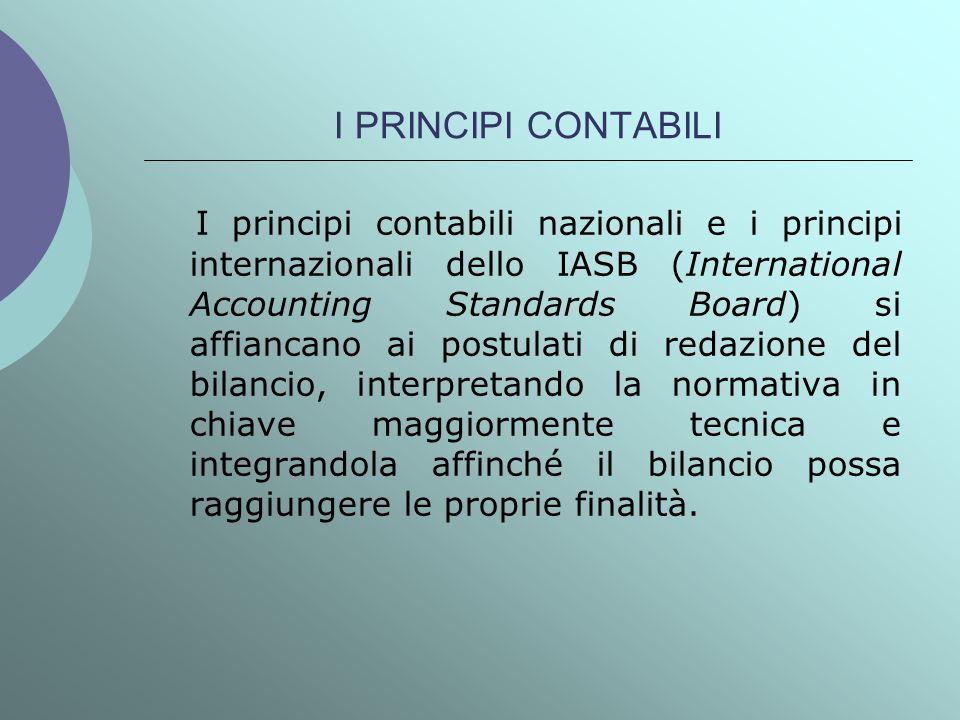I PRINCIPI CONTABILI I principi contabili nazionali e i principi internazionali dello IASB (International Accounting Standards Board) si affiancano ai