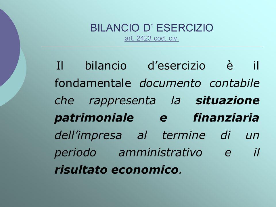 BILANCIO D ESERCIZIO art. 2423 cod. civ. art. 2423 cod. civ. Il bilancio desercizio è il fondamentale documento contabile che rappresenta la situazion