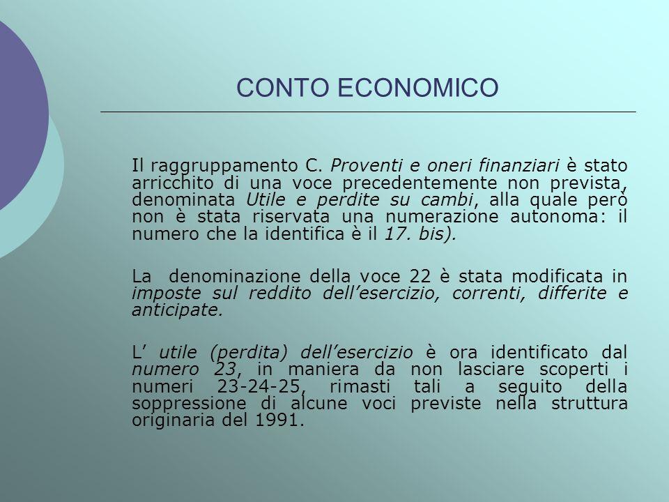 CONTO ECONOMICO Il raggruppamento C. Proventi e oneri finanziari è stato arricchito di una voce precedentemente non prevista, denominata Utile e perdi