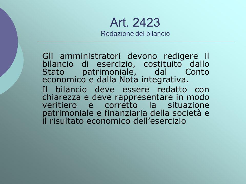 Art. 2423 Redazione del bilancio Gli amministratori devono redigere il bilancio di esercizio, costituito dallo Stato patrimoniale, dal Conto economico