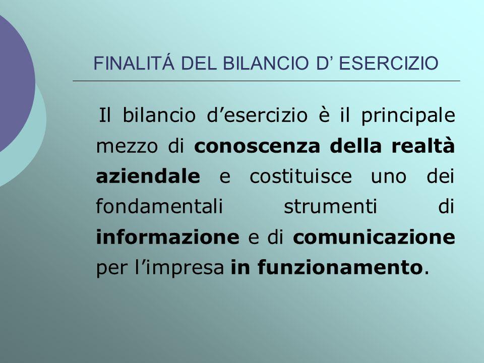 FINALITÁ DEL BILANCIO D ESERCIZIO Il bilancio desercizio è il principale mezzo di conoscenza della realtà aziendale e costituisce uno dei fondamentali