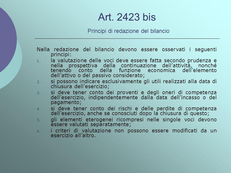 Art. 2423 bis Principi di redazione del bilancio Nella redazione del bilancio devono essere osservati i seguenti principi: 1. la valutazione delle voc