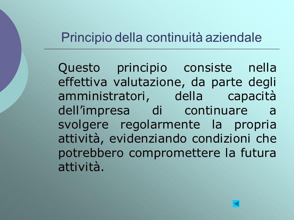 Principio della continuità aziendale Questo principio consiste nella effettiva valutazione, da parte degli amministratori, della capacità dellimpresa