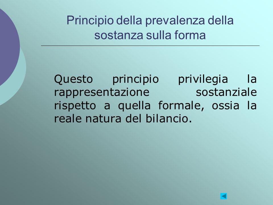 Principio della prevalenza della sostanza sulla forma Questo principio privilegia la rappresentazione sostanziale rispetto a quella formale, ossia la
