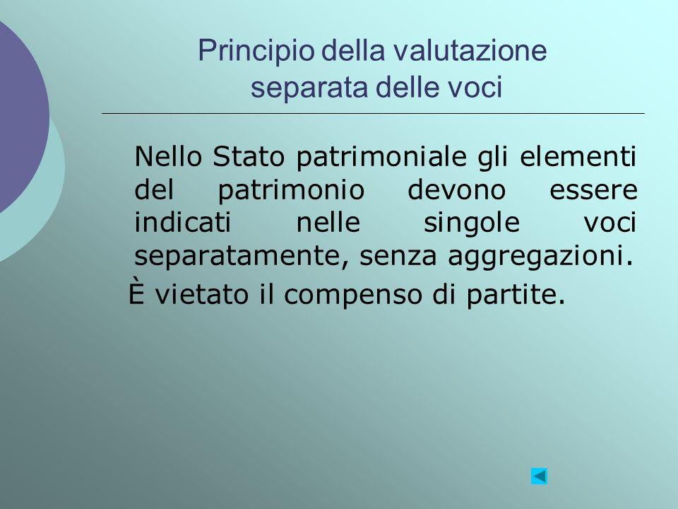 Principio della valutazione separata delle voci Nello Stato patrimoniale gli elementi del patrimonio devono essere indicati nelle singole voci separat