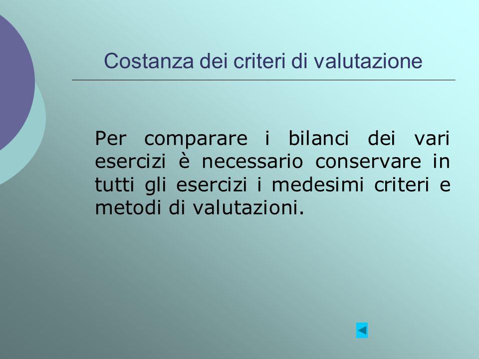 Costanza dei criteri di valutazione Per comparare i bilanci dei vari esercizi è necessario conservare in tutti gli esercizi i medesimi criteri e metod