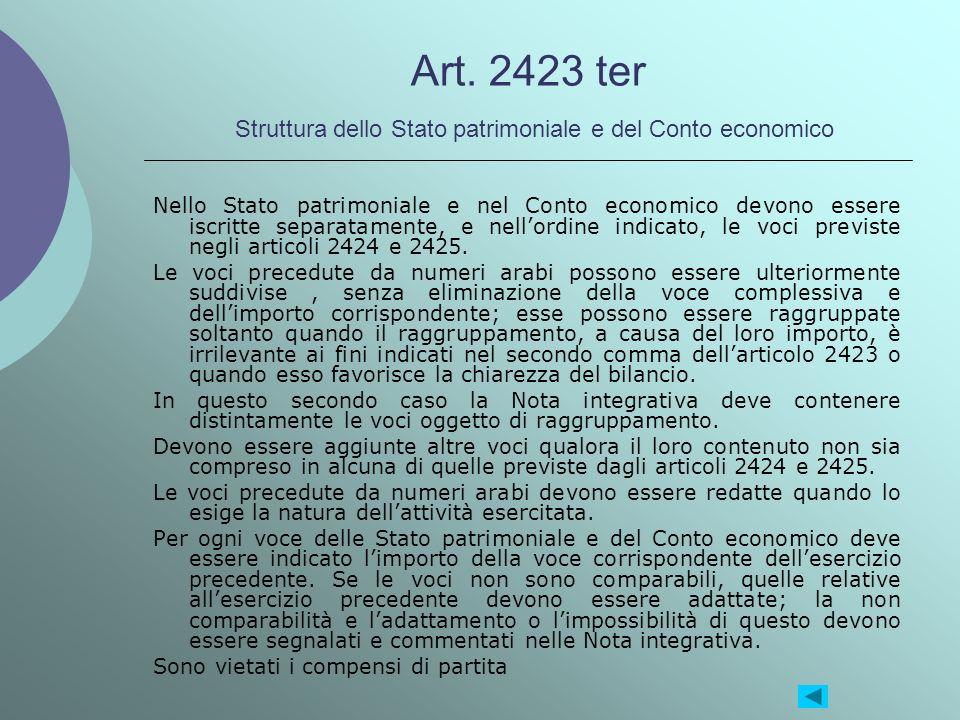 Art. 2423 ter Struttura dello Stato patrimoniale e del Conto economico Nello Stato patrimoniale e nel Conto economico devono essere iscritte separatam