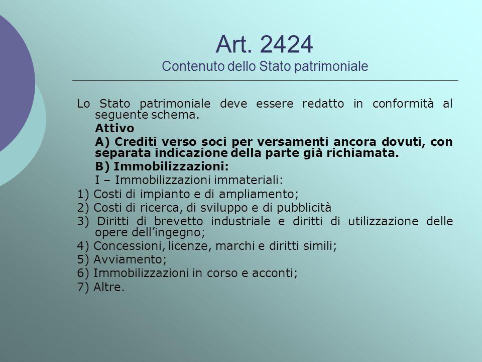 Art. 2424 Contenuto dello Stato patrimoniale Lo Stato patrimoniale deve essere redatto in conformità al seguente schema. Attivo A) Crediti verso soci