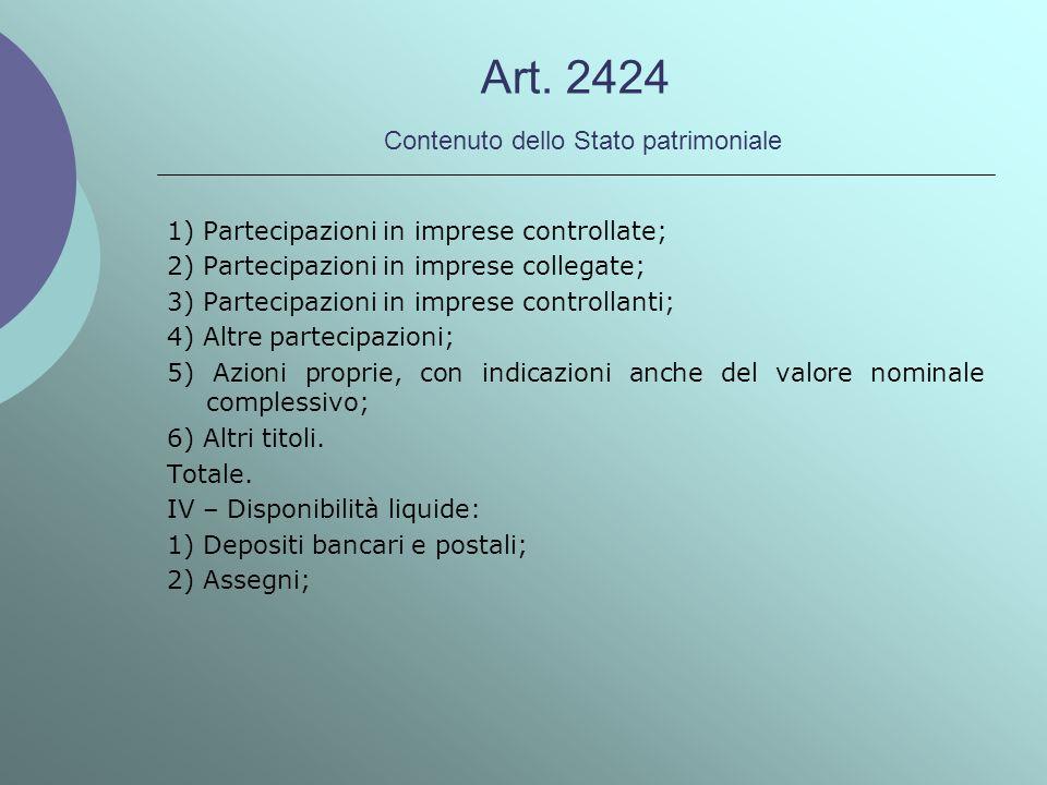 Art. 2424 Contenuto dello Stato patrimoniale 1) Partecipazioni in imprese controllate; 2) Partecipazioni in imprese collegate; 3) Partecipazioni in im