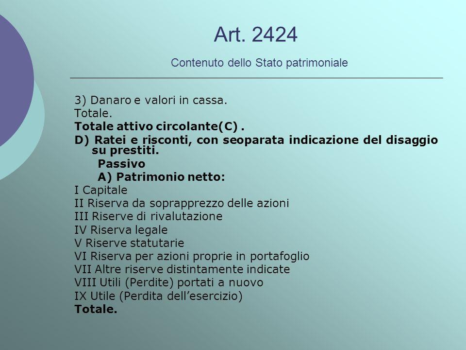 Art. 2424 Contenuto dello Stato patrimoniale 3) Danaro e valori in cassa. Totale. Totale attivo circolante(C). D) Ratei e risconti, con seoparata indi