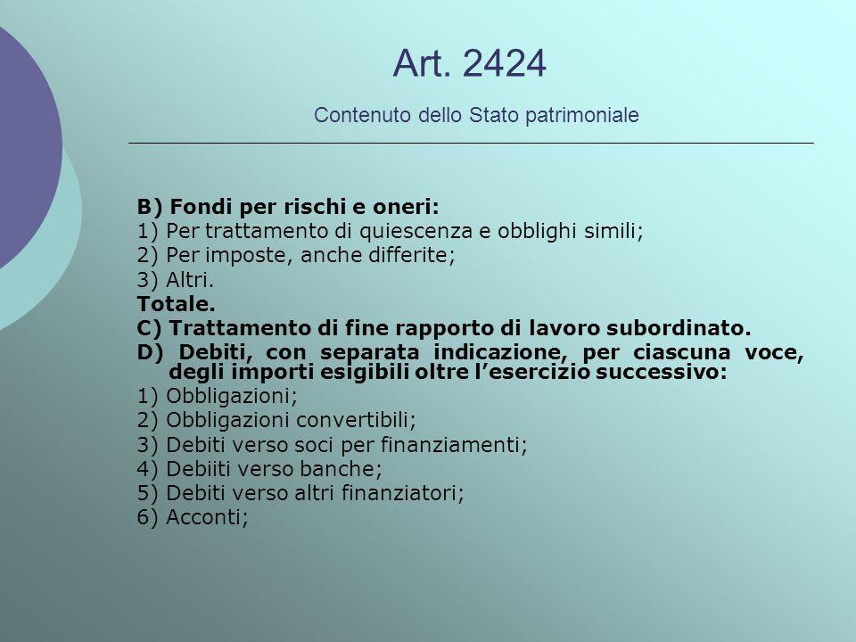 Art. 2424 Contenuto dello Stato patrimoniale B) Fondi per rischi e oneri: 1) Per trattamento di quiescenza e obblighi simili; 2) Per imposte, anche di