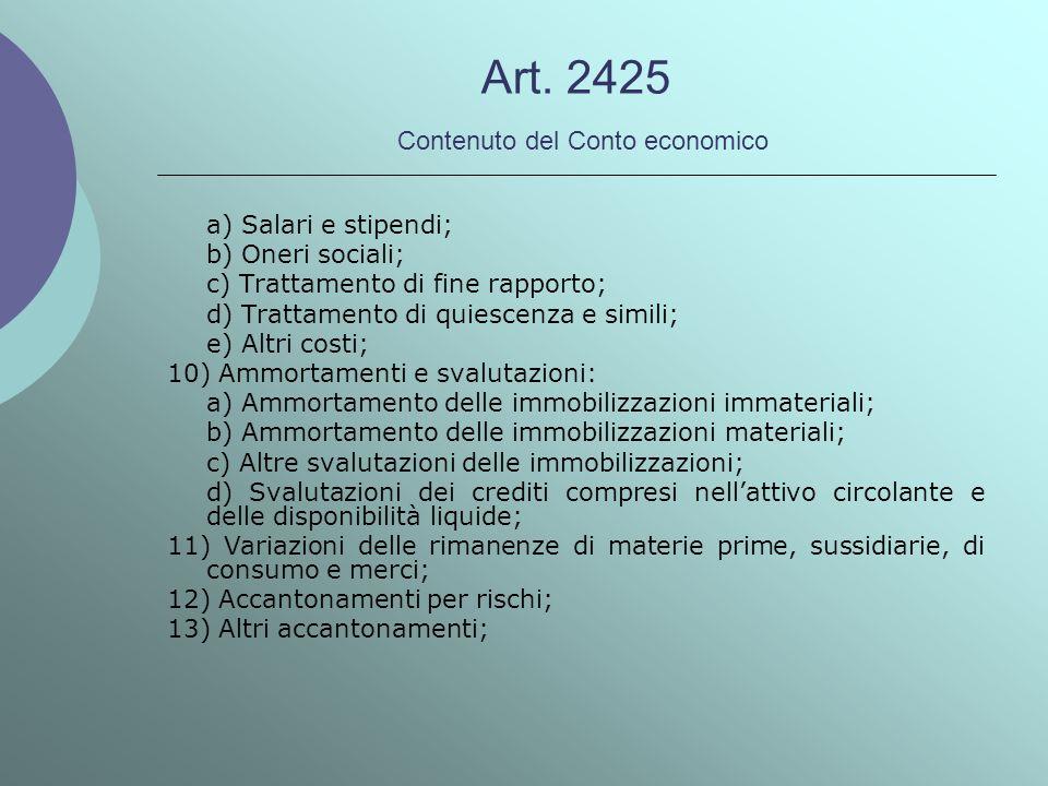 Art. 2425 Contenuto del Conto economico a) Salari e stipendi; b) Oneri sociali; c) Trattamento di fine rapporto; d) Trattamento di quiescenza e simili