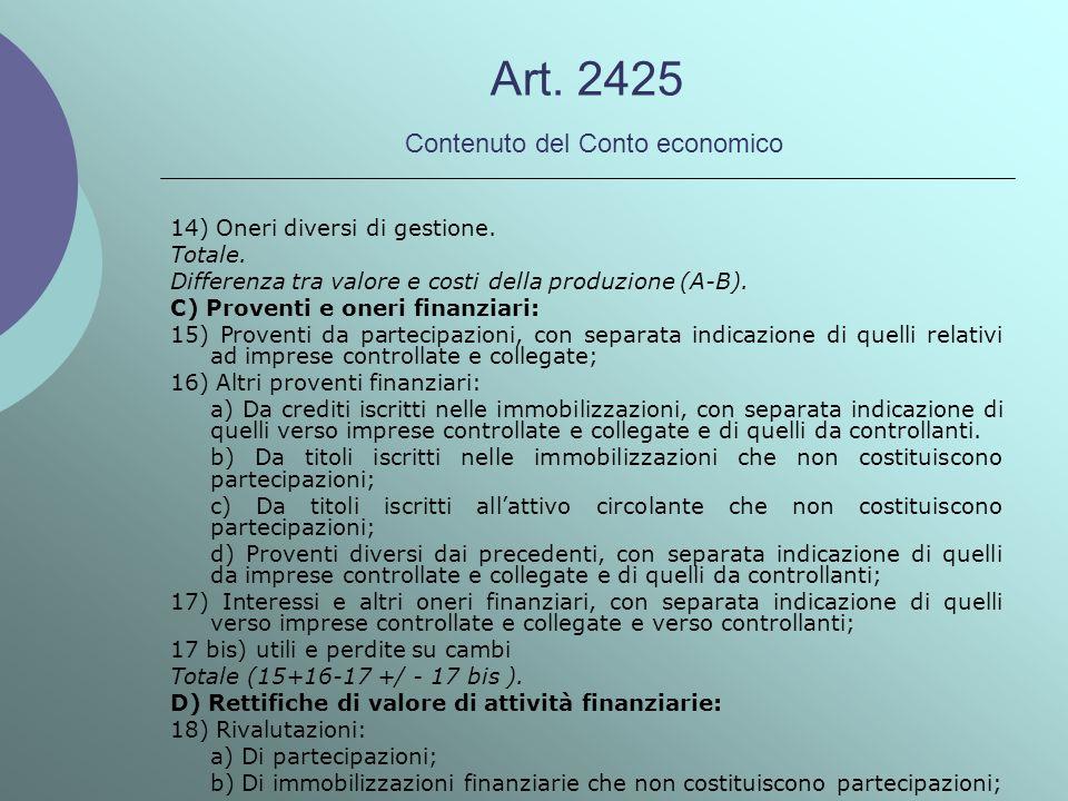 Art. 2425 Contenuto del Conto economico 14) Oneri diversi di gestione. Totale. Differenza tra valore e costi della produzione (A-B). C) Proventi e one