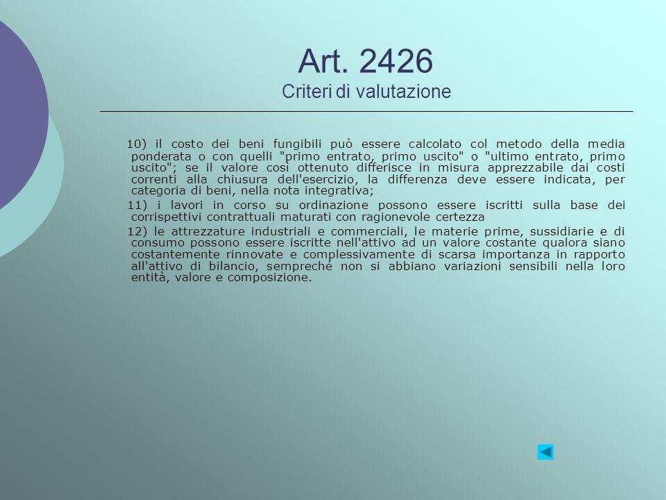 Art. 2426 Criteri di valutazione 10) il costo dei beni fungibili può essere calcolato col metodo della media ponderata o con quelli
