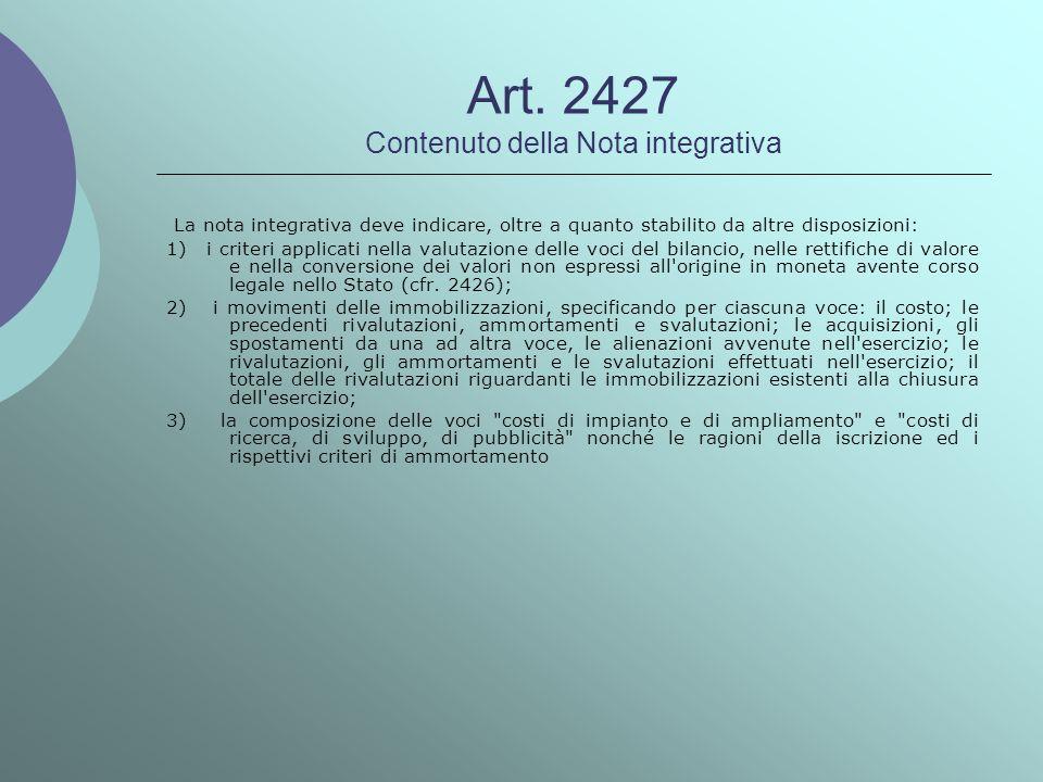 Art. 2427 Contenuto della Nota integrativa La nota integrativa deve indicare, oltre a quanto stabilito da altre disposizioni: 1) i criteri applicati n