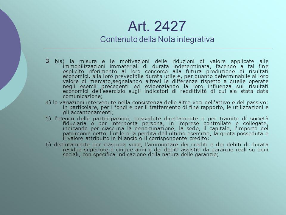 Art. 2427 Contenuto della Nota integrativa 3 bis) la misura e le motivazioni delle riduzioni di valore applicate alle immobilizzazioni immateriali di