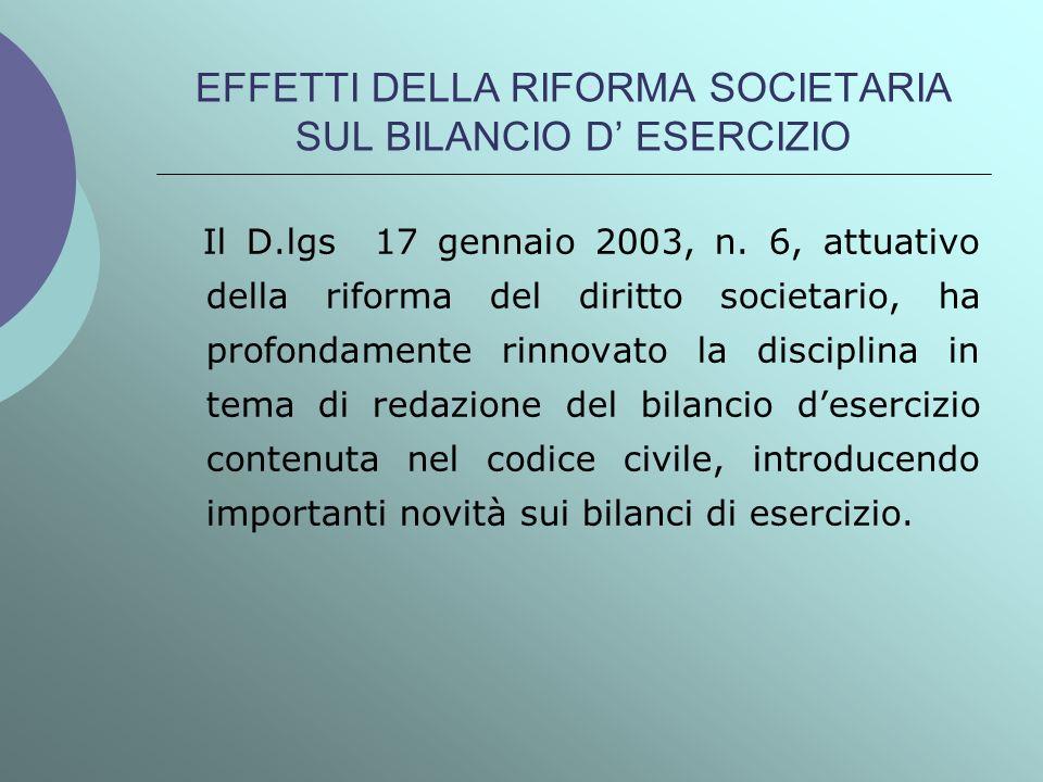 EFFETTI DELLA RIFORMA SOCIETARIA SUL BILANCIO D ESERCIZIO Il D.lgs 17 gennaio 2003, n. 6, attuativo della riforma del diritto societario, ha profondam